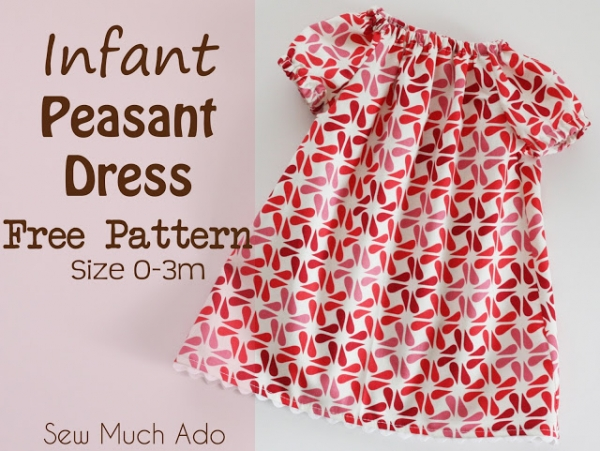 Free Pattern Infant Peasant Dress Size 0 3 Months Sewing